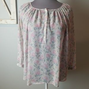 LC Lauren Conrad Sheer Floral Blouse small pink